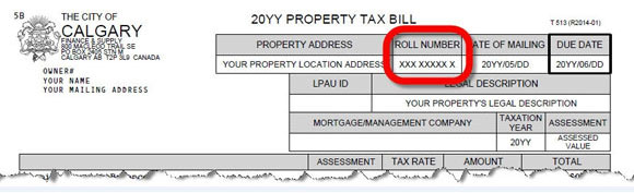 Property tax bill showing roll number