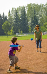 Playing ball in Canmore Park