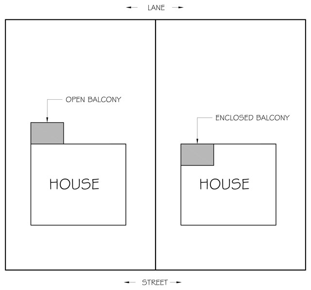 Illustration of a balcony unenclosed on 3 sides.