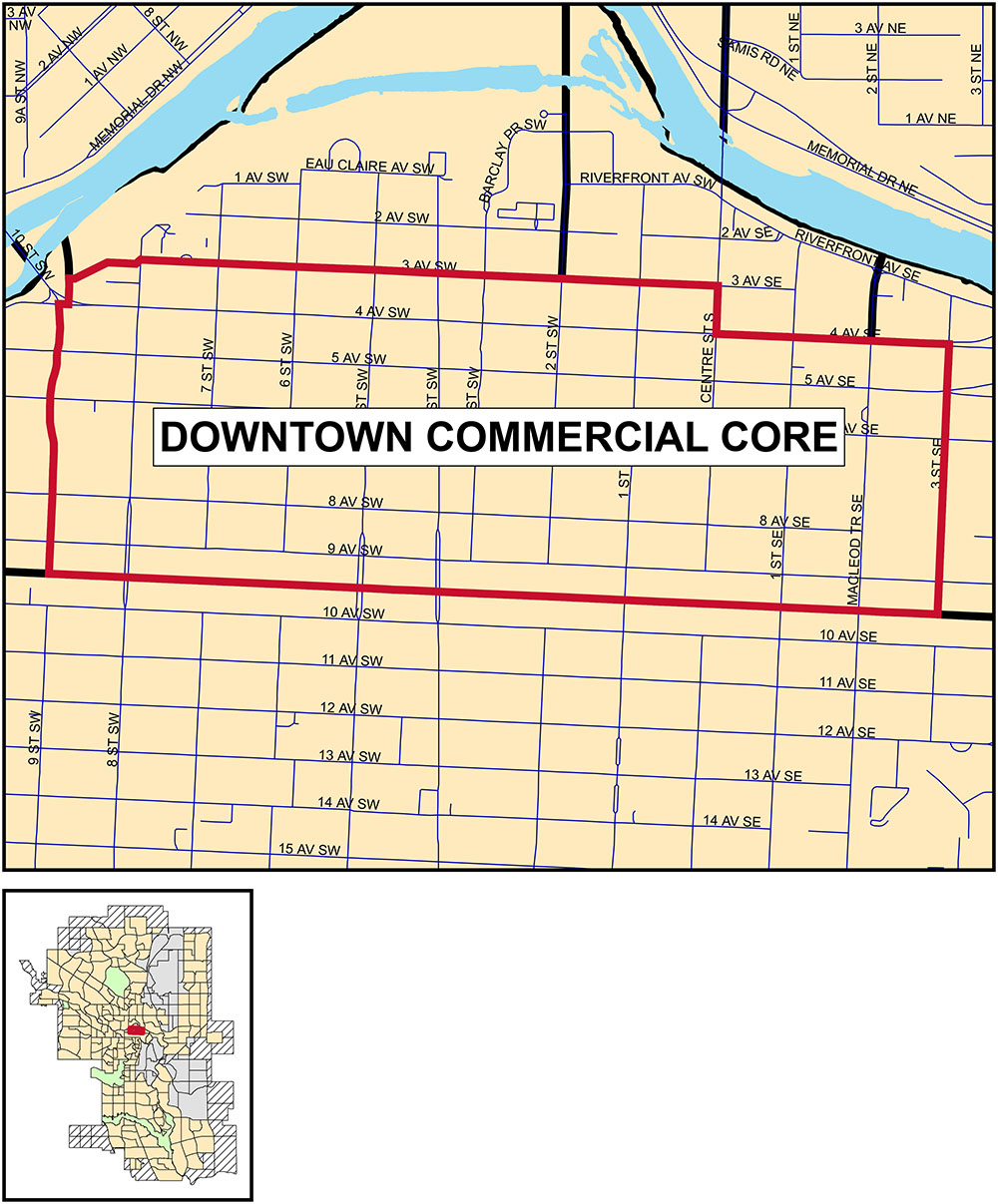 Downtown Commercial Core map