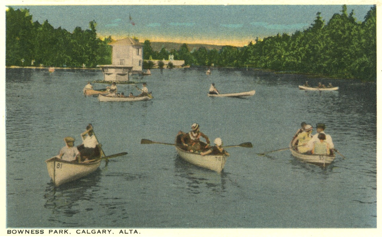 Postcard - canoeing on Bowness Park